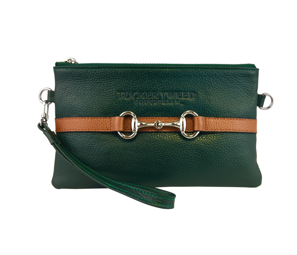 Tucker Tweed Leather Handbags Hunter Green/Chestnut The Wellington Wristlet