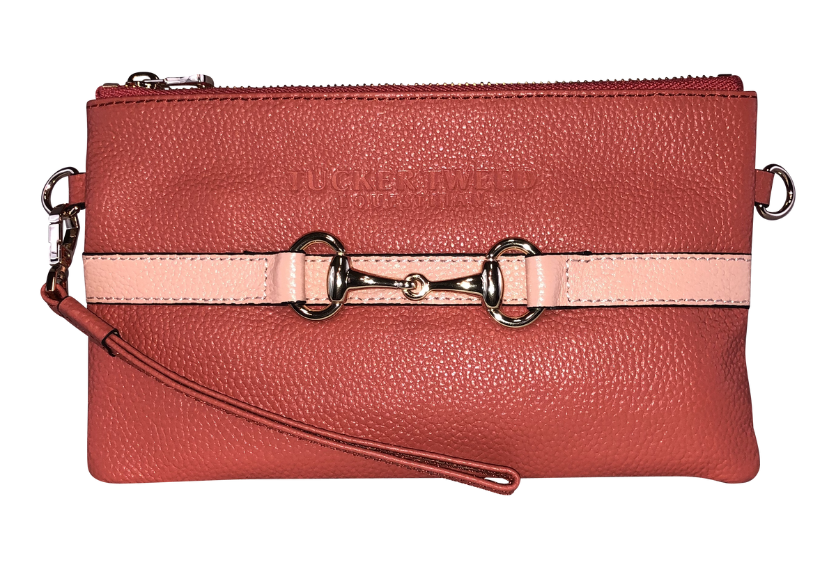 Tucker Tweed Leather Handbags Living Coral/Peach The Wellington Wristlet