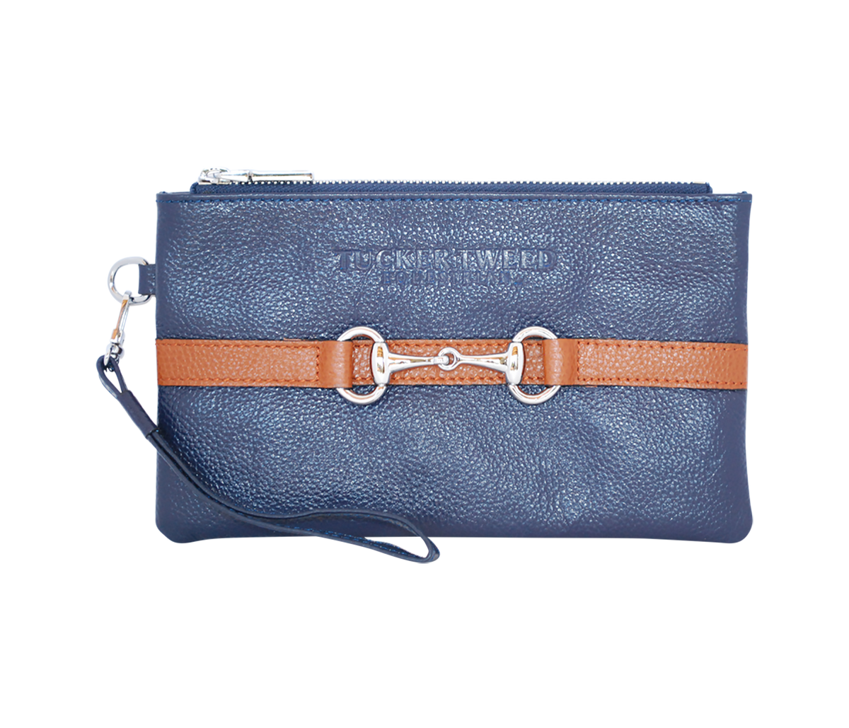 Tucker Tweed Leather Handbags Navy/Chestnut The Wellington Wristlet