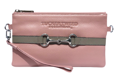 Tucker Tweed Leather Handbags Rosé/Grey The Wellington Wristlet