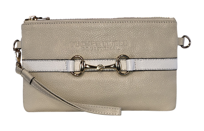 Tucker Tweed Leather Handbags Sand/White The Wellington Wristlet