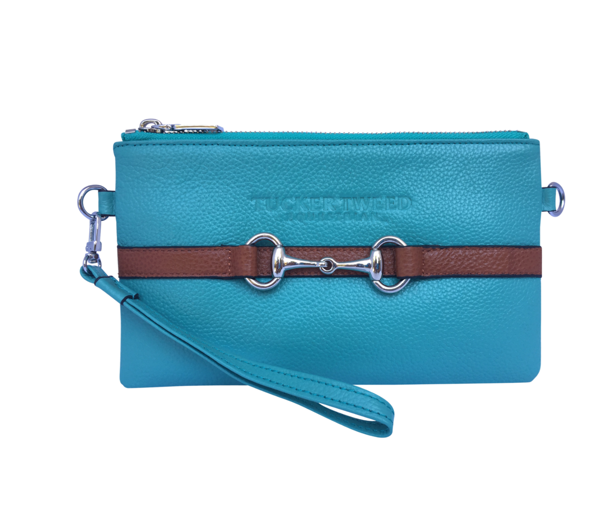 Tucker Tweed Leather Handbags Turquoise/Chestnut The Wellington Wristlet