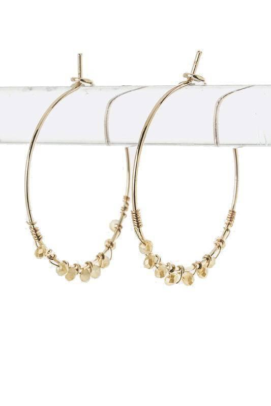 """SHOW YOUR SPARK""-NUDE GOLD HOOP EARRINGS - Lala Shoes"