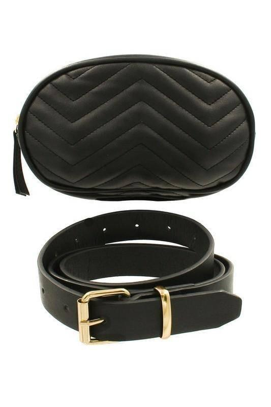 """CLASSIC TWIST""-FAUX LEATHER CHEVRON BELT BAG"