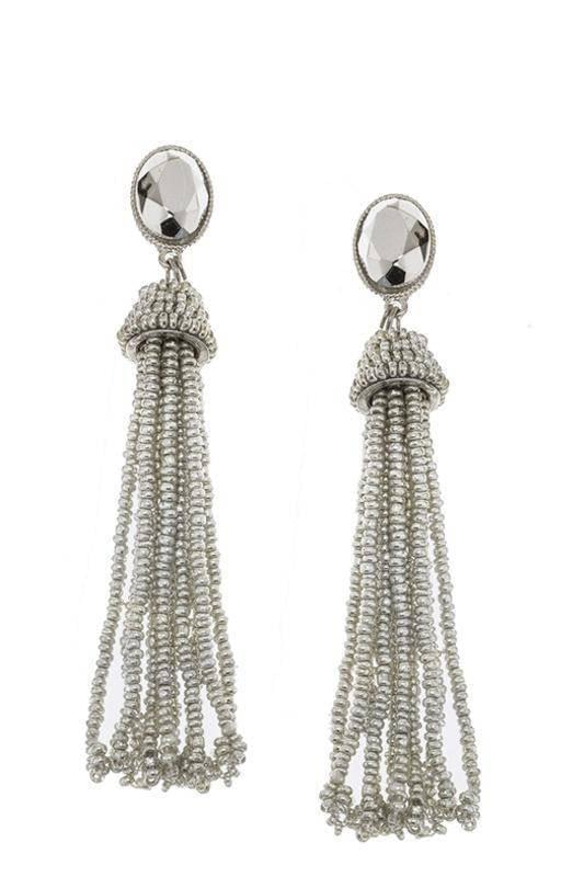 """SIMPLY TASSEL!""-SILVER EARRINGS - Lala Shoes"