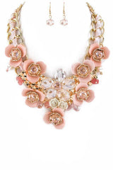 """GO ON, GET YOUR FLOWERS ON""-MAUVE NECKLACE AND EARRINGS"