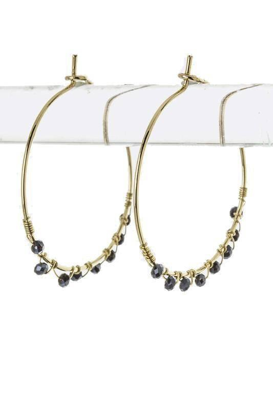 """SHOW YOUR SPARK""-BLACK GOLD HOOP EARRINGS - Lala Shoes"