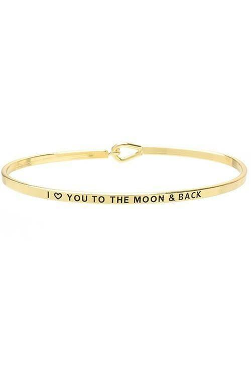 """LOVE YOU TO THE MOON AND BACK""-GOLD BANGLE - Lala Shoes"