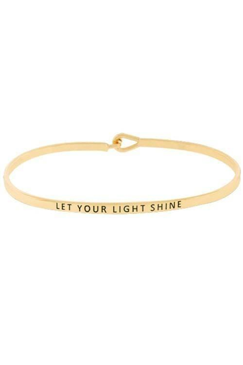 """LET YOUR LIGHT SHINE""-GOLD BANGLE - Lala Shoes"