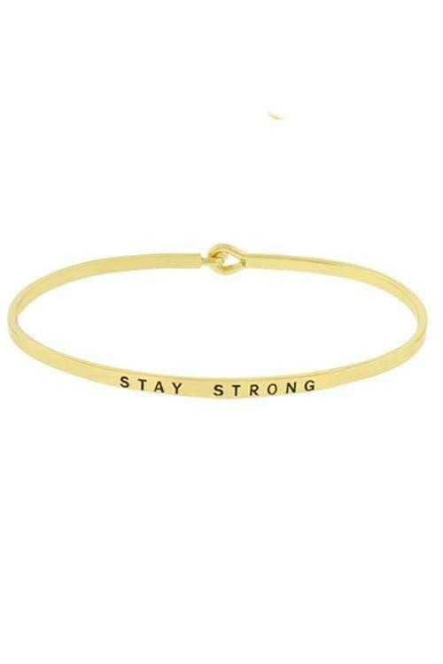 """STAY STRONG""-GOLD BANGLE - Lala Shoes"