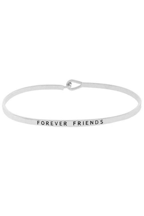 """FOREVER FRIENDS""-SILVER BANGLE - Lala Shoes"