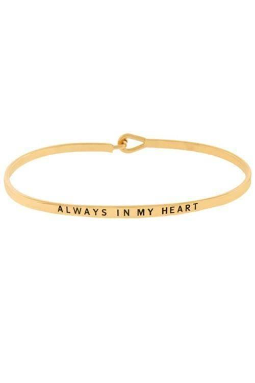 """ALWAYS IN MY HEART""-GOLD BANGLE - Lala Shoes"