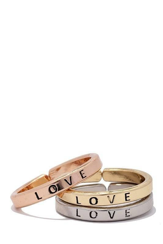 """LOVE""-TRIO RING SET - Lala Shoes"
