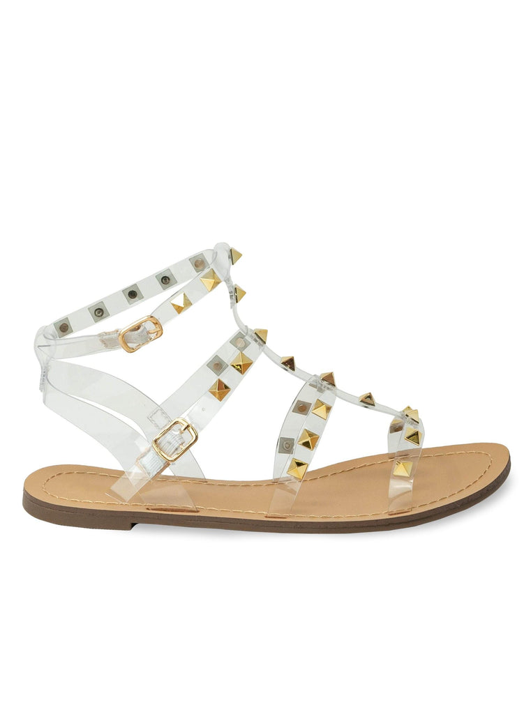 """TAMZIN WHITE"" - STRAPPY STUDDED SANDAL - Lala Shoes"