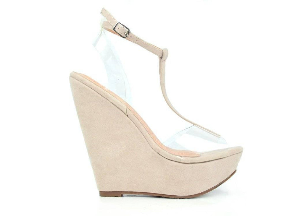 """TRANSPARENT SHINES THRU""- WEDGE - Lala Shoes"