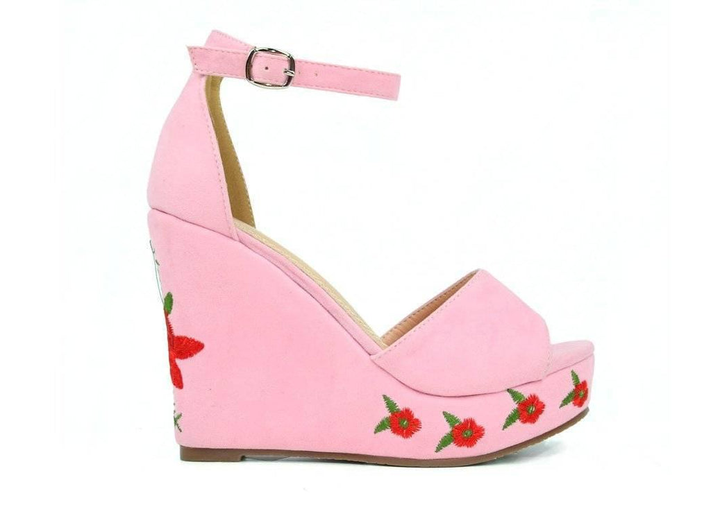 """FLOWER THE CHOICE CUT"" - WEDGE SANDAL - Lala Shoes"