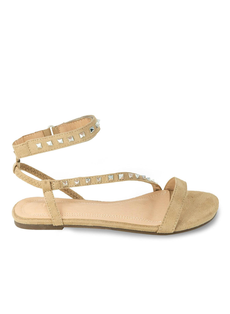 """AMMARA STOKES"" -STUDDED FLAT SANDALS - Lala Shoes"