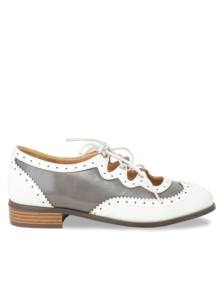 """BATES"" - OXFORD CUT OUT HEEL FLAT - Lala Shoes"