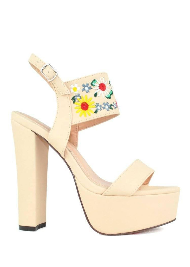 """FLOWER POWER"" - CHUNKY HEEL PLATFORM SANDAL - Lala Shoes"