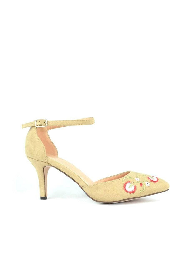 """LET'S GET OUTSIDE"" - NUDE D'ORSAY KITTEN HEEL PUMP - Lala Shoes"