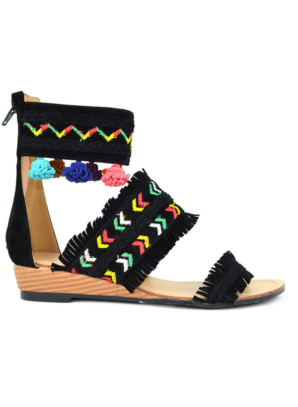 """OFF THE WALL"" - HIGH TOP FLAT SANDAL - Lala Shoes"