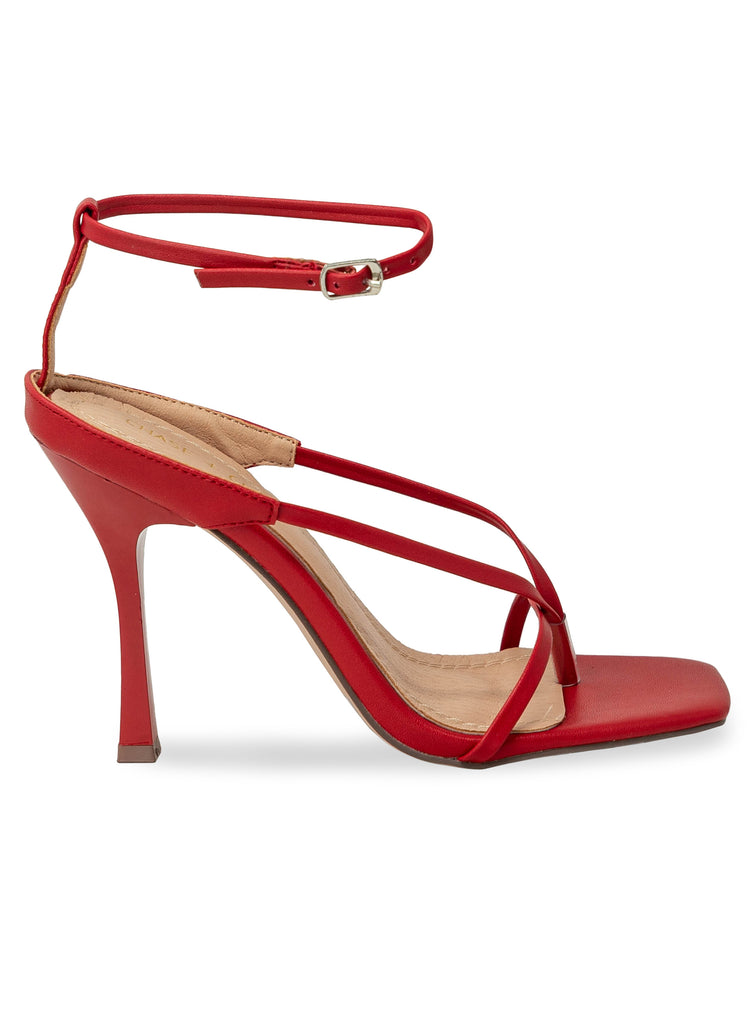 """HOOPS"" - RED STRAPPY SLIM HEEL SANDAL"