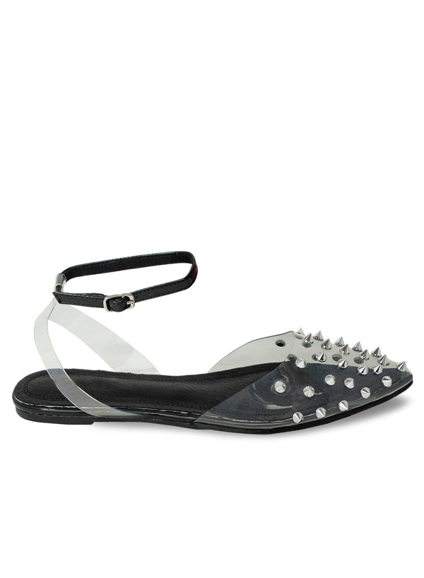 """OLIVER"" - PYRAMID STUD CLEAR FLAT - Lala Shoes"