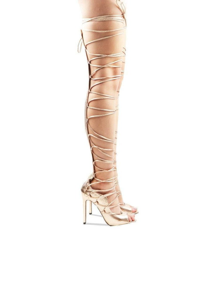 """COMPLEX""-STRAPPY OVER THE KNEE BOOT - Lala Shoes"