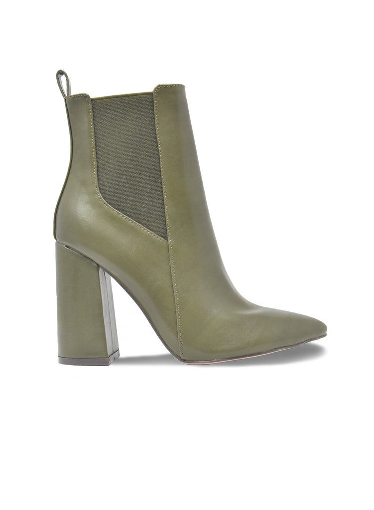 """EGO""- OLIVE FAUX LEATHER BOOTIES"