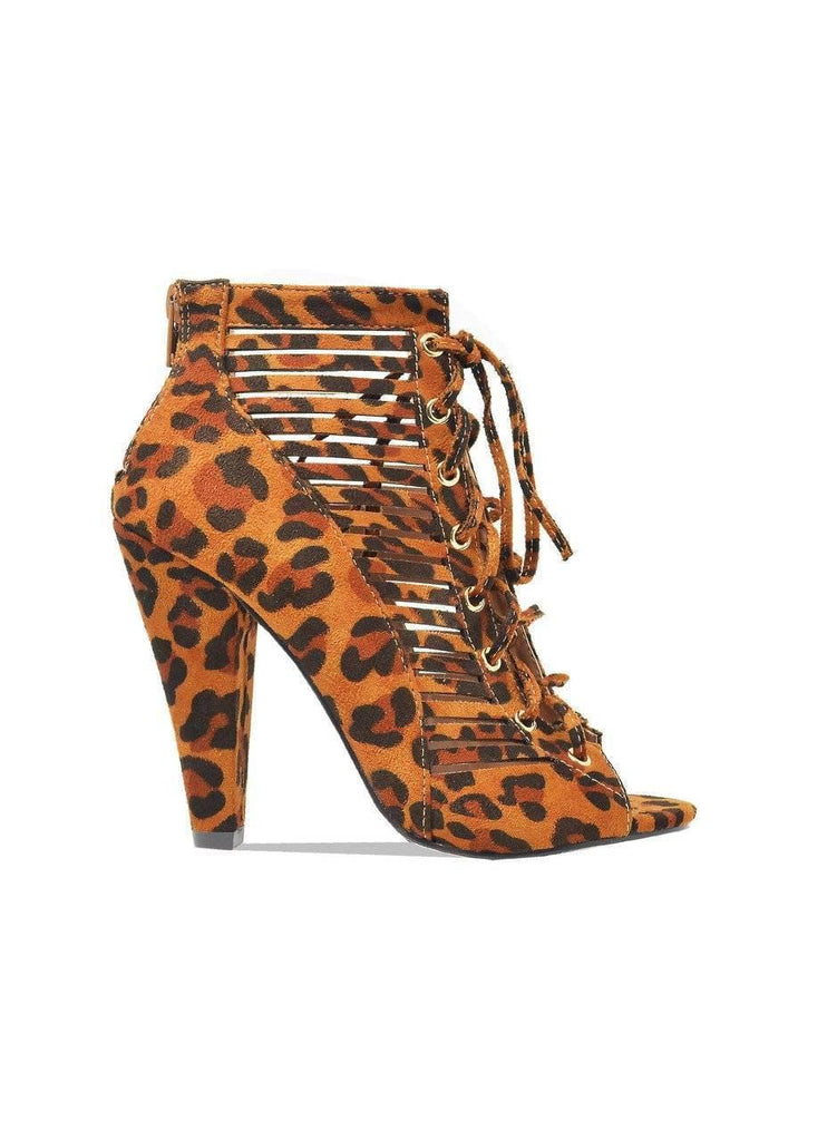 """DOMINATE""-CUT OUT CONE HEEL BOOTIE - Lala Shoes"