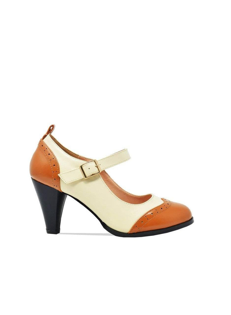 """SERENITY""-TWO TONED ANKLE STRAP RETRO SHOES - Lala Shoes"