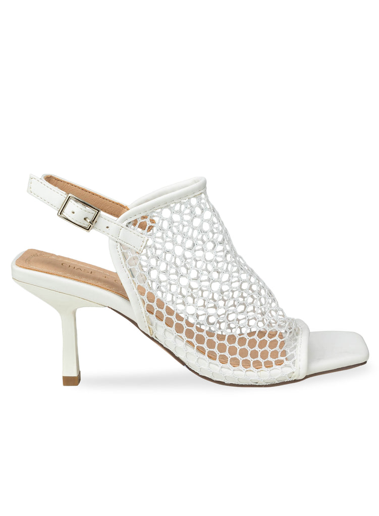 """FIREY"" - WHITE SLING BACK LOW HEEL SANDAL"