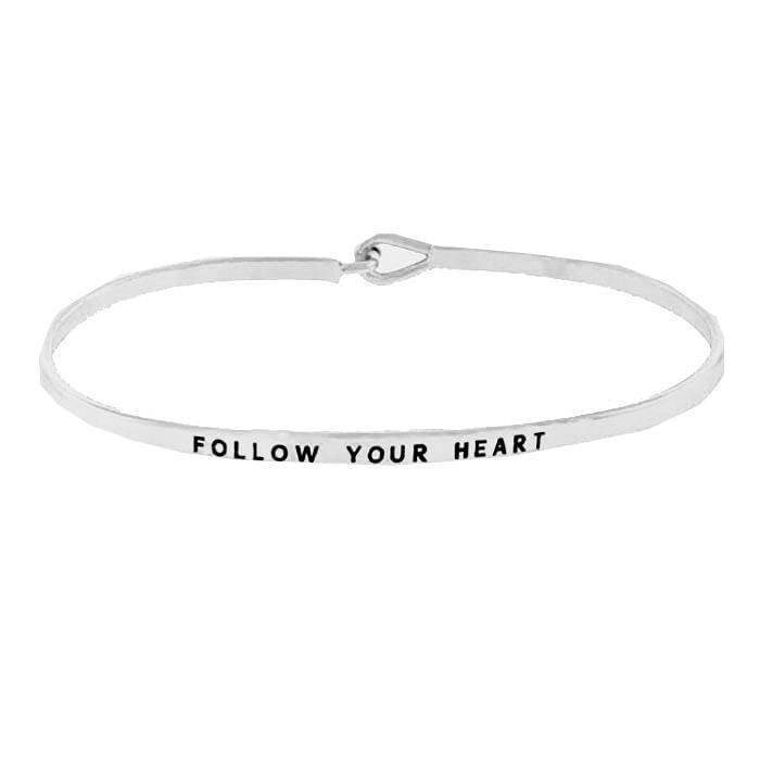 """FOLLOW YOUR HEART""-SILVER BANGLE - Lala Shoes"