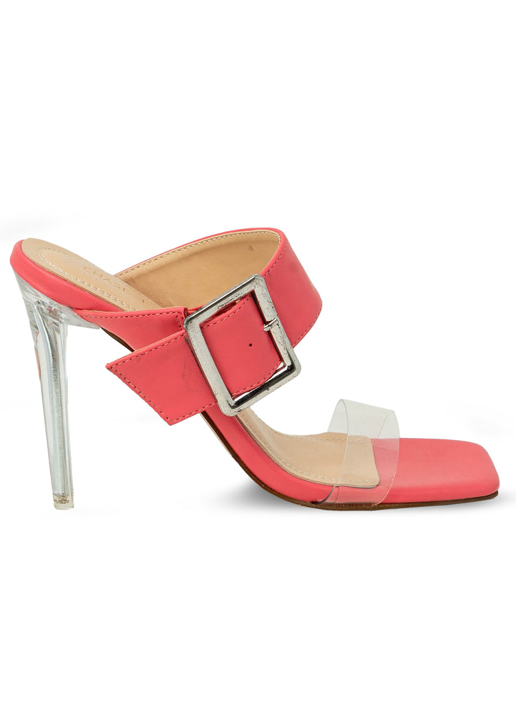 """Sherry"" - Women's Coral Clear Slim Heeled Sandal"