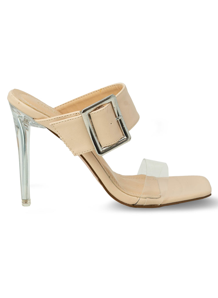 """Sherry"" - Women's Nude Clear Slim Heeled Sandal"