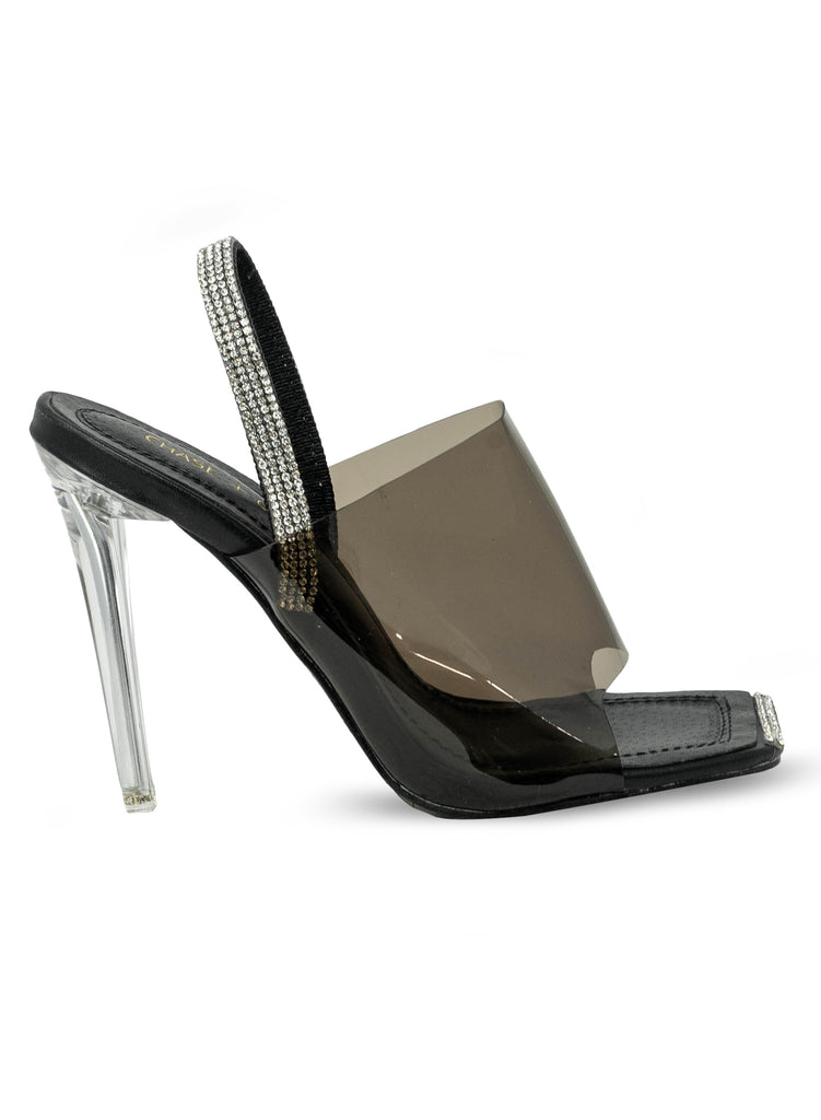 """Moonshine"" - Women's Black Clear Slim Heeled Sandal"