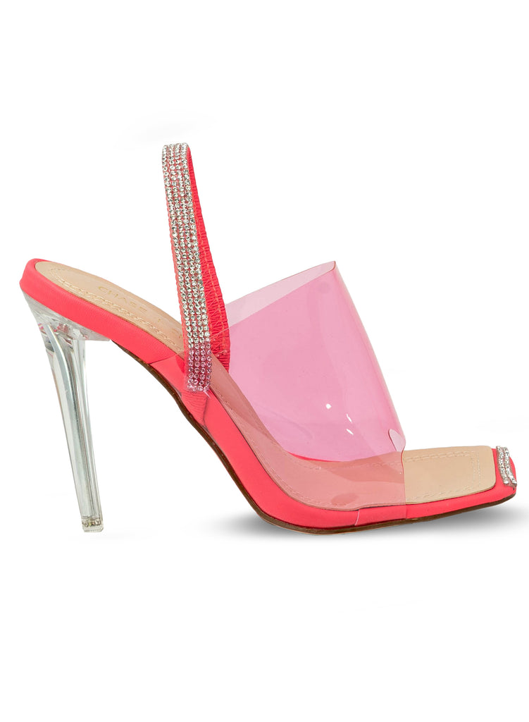 """Moonshine"" - Women's Fuchsia Clear Slim Heeled Sandal"
