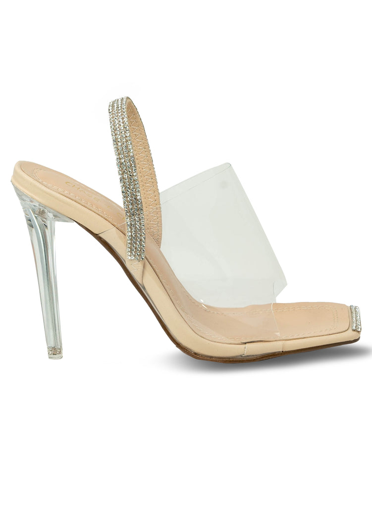 """Moonshine"" - Women's Nude Clear Slim Heeled Sandal"