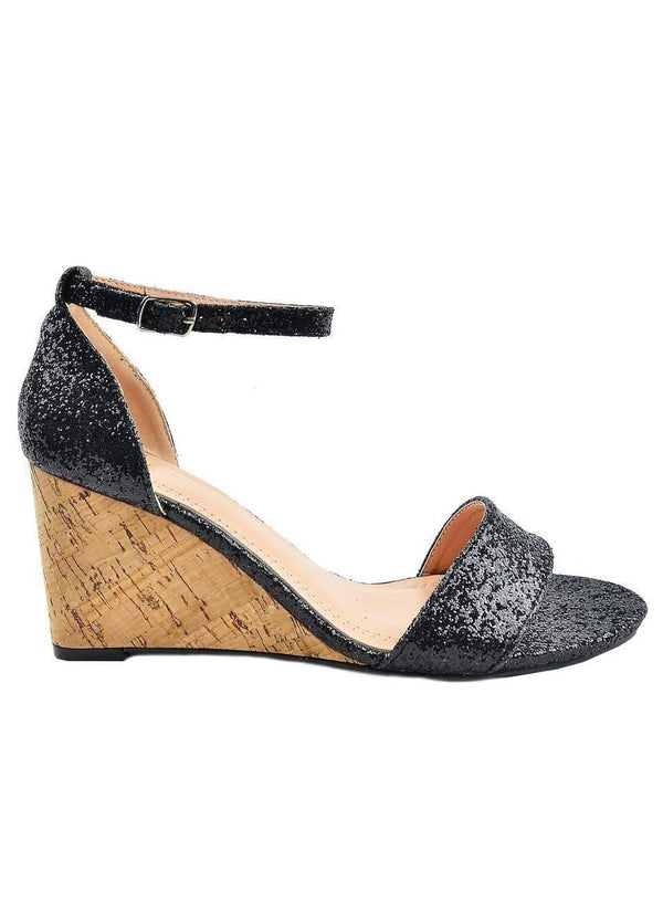 """GLITTER CAN DO""-BLACK CORK WEDGE - Lala Shoes"
