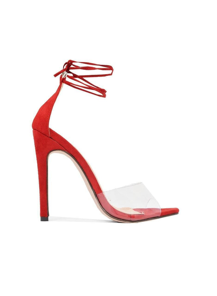 """STRAP THE NIGHT""-LUCITE ANKLE STRAP HEEL - Lala Shoes"