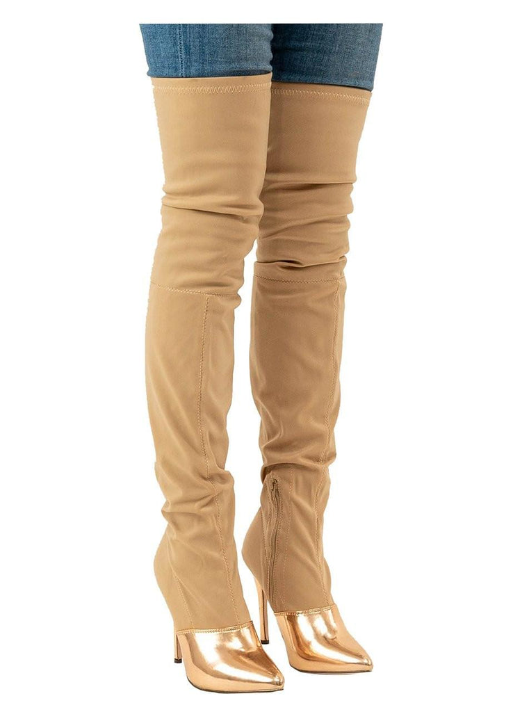 """SPLIT""-CAP TOE OVER THE KNEE BOOT - Lala Shoes"