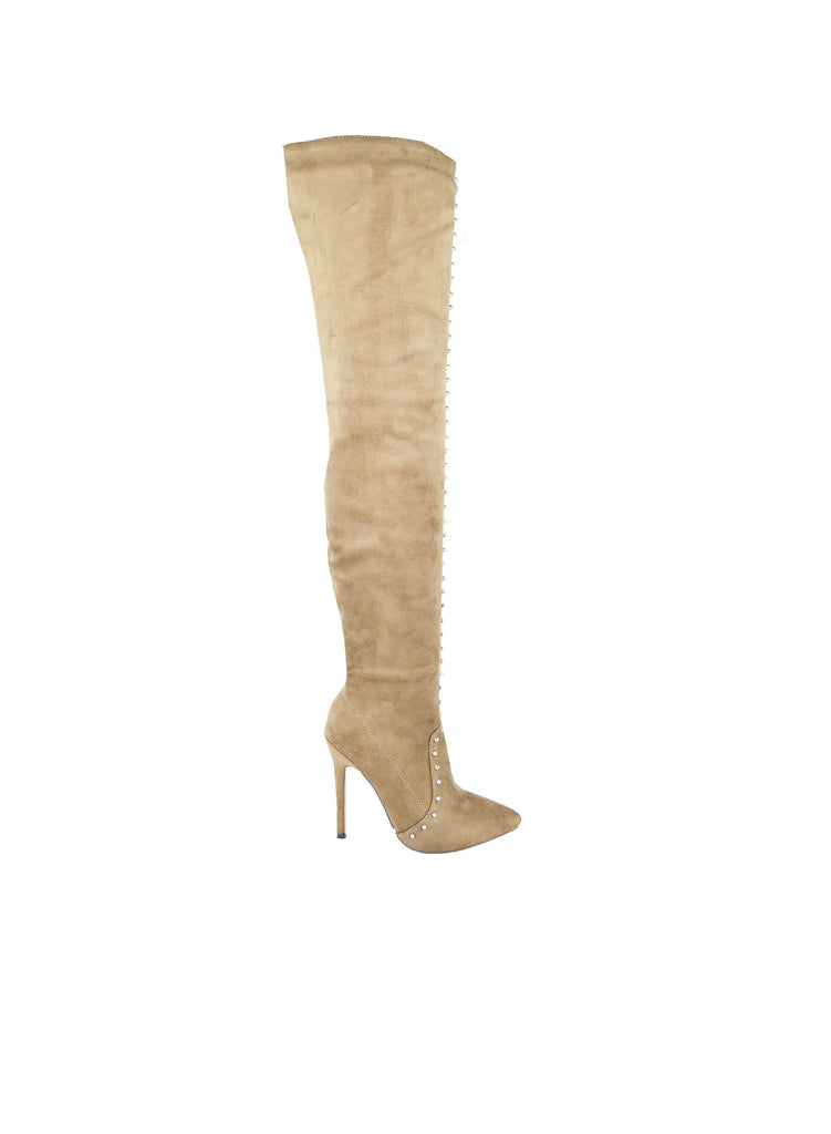 """WORSHIP"" - TAUPE OVER THE KNEE STUDDED BOOTS"
