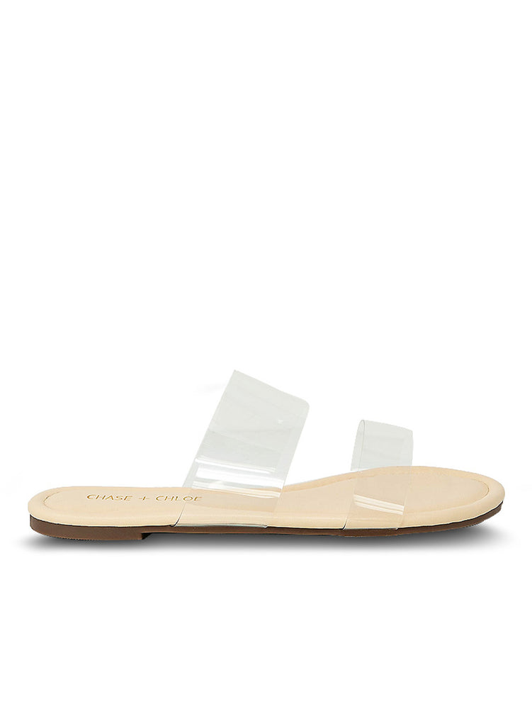"""PETAL"" - WOMAN'S NUDE DOUBLE STRAP CLEAR FLAT"