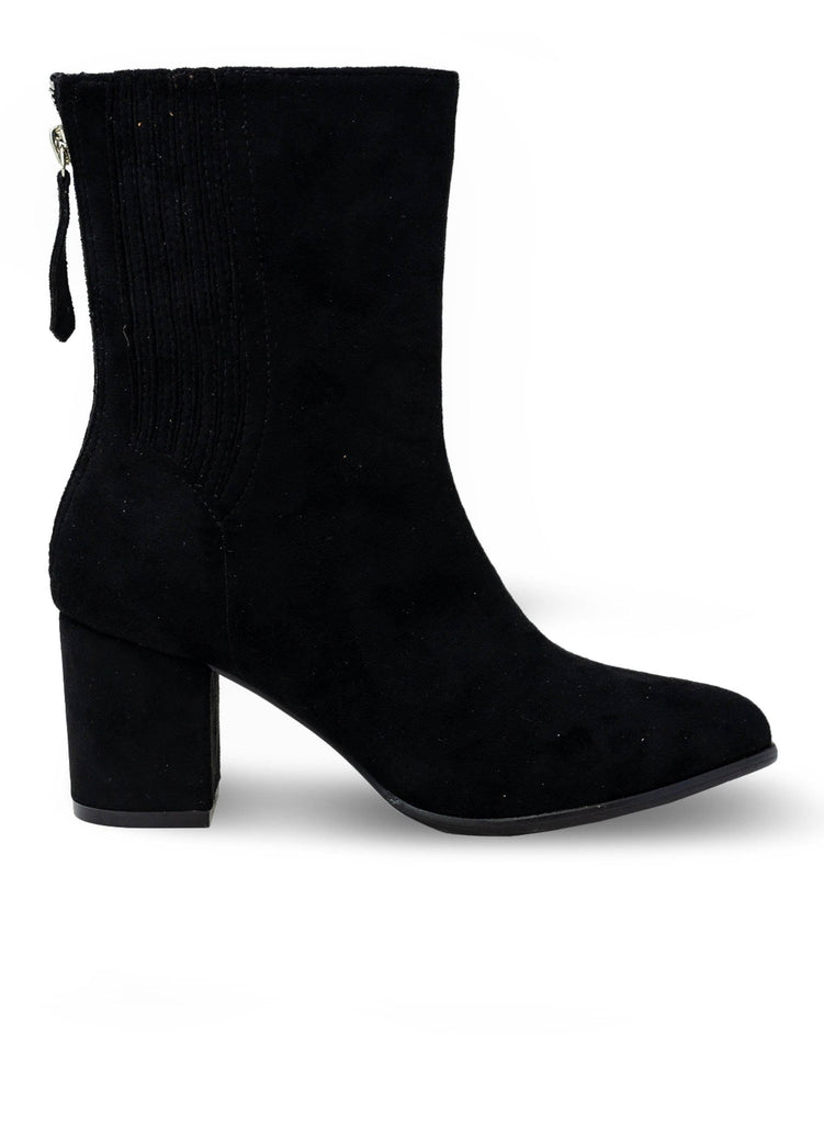 """ADINA BOONE"" - CALVE LENGTH BOOTIE WITH CHUNKY HEEL - Lala Shoes"