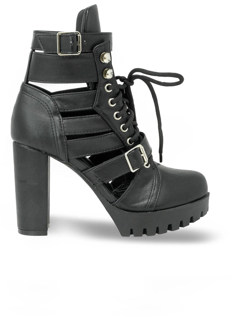 """BELLE SMITH"" - LUG SOLE OPEN SIDE COMBAT BOOTIE - Lala Shoes"