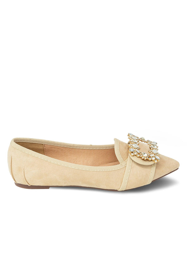 """ZAINA"" - STONE ORNAMENT POINTY TOE FLAT - Lala Shoes"