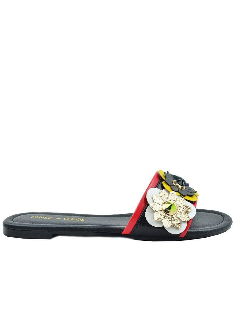 """THE IDEAL FLOWER""- BLACK FLOWER SLIDE - Lala Shoes"