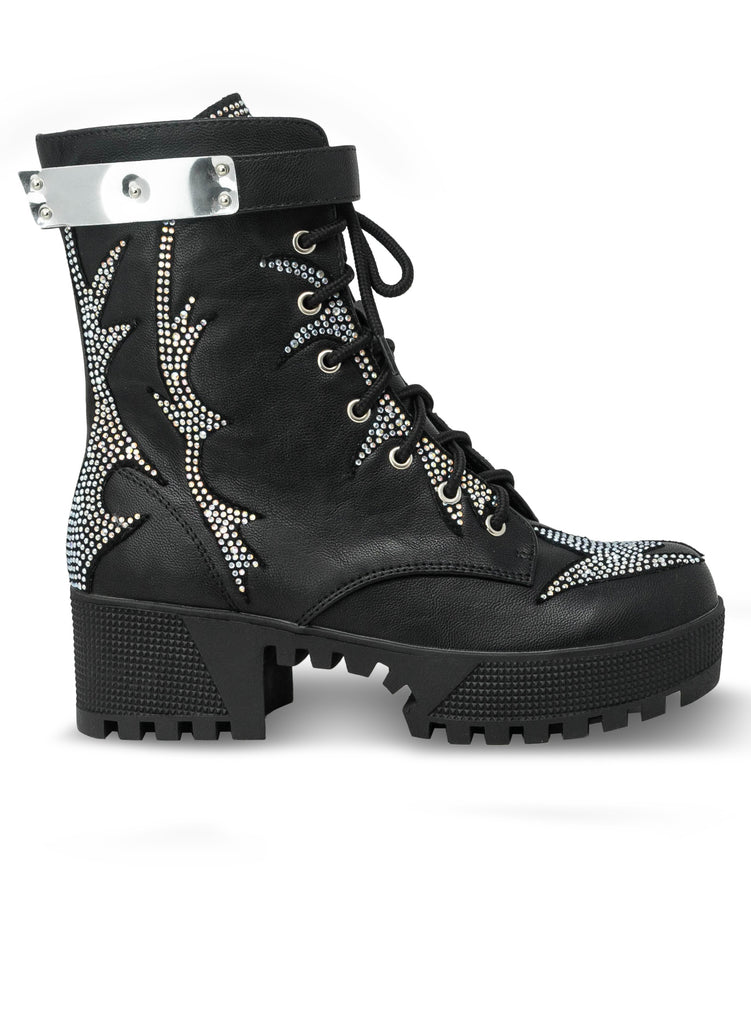 """Barbera"" - Women's Black Lace Up Combat Boot"