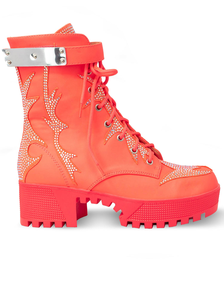 """Barbera"" - Women's Neon Pink Lace Up Combat Boot"
