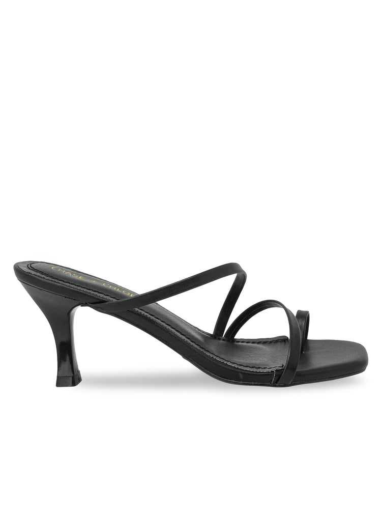 """Ginger"" - Women's Black Strappy Kitten Heel Sandal"
